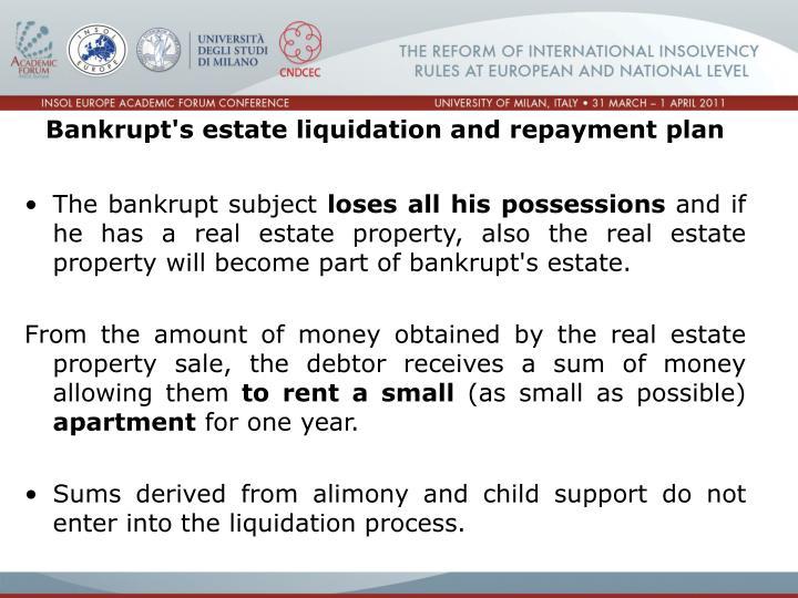 Bankrupt's estate liquidation and repayment plan