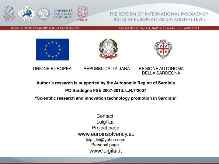 Author's research is supported by the Autonomic Region of Sardinia