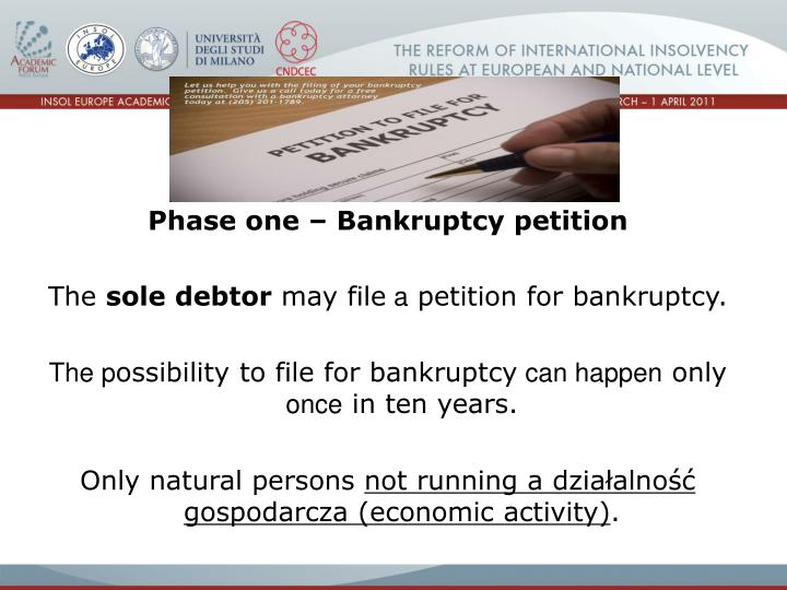 Phase one – Bankruptcy petition