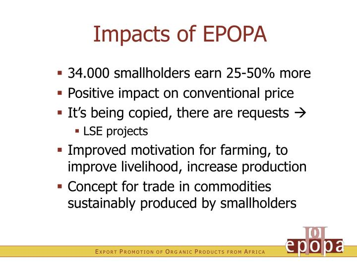 Impacts of EPOPA