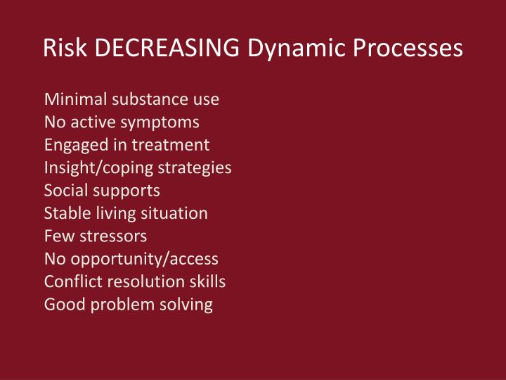 Risk DECREASING Dynamic Processes