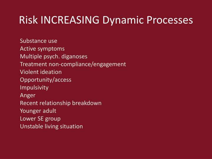 Risk INCREASING Dynamic Processes