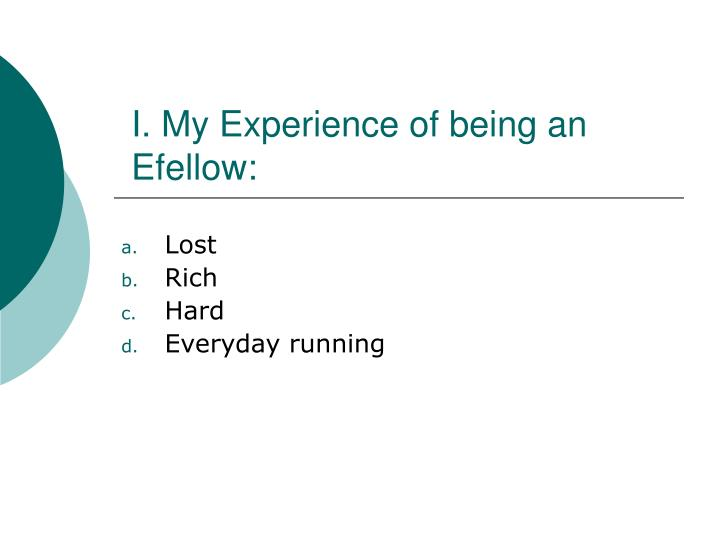 I. My Experience of being an Efellow: