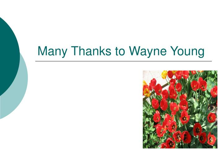 Many Thanks to Wayne Young