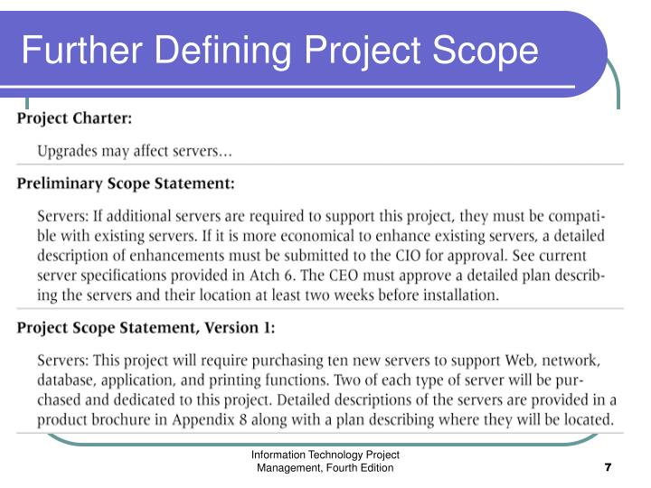 Further Defining Project Scope