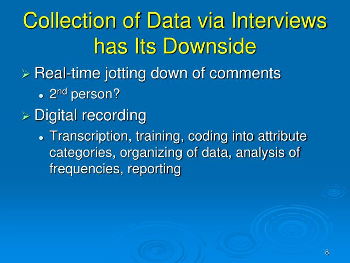 Collection of Data via Interviews has Its Downside