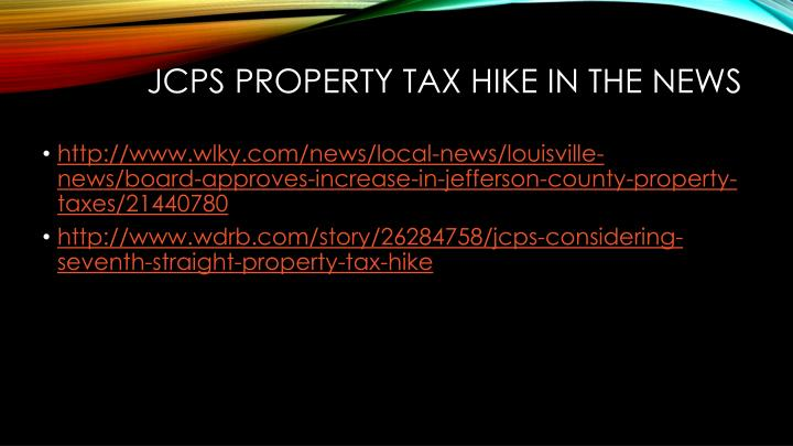 JCPS Property Tax Hike in the News