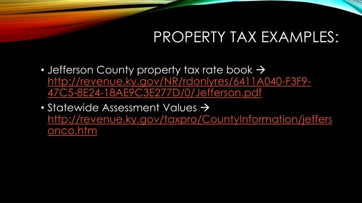 Property Tax Examples:
