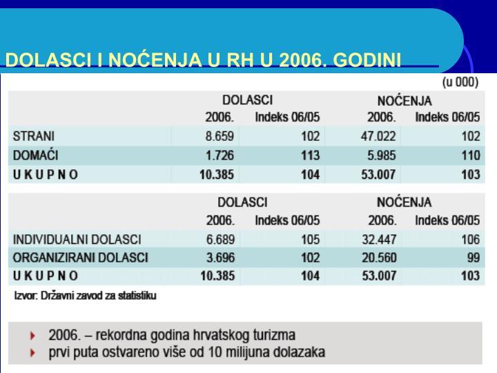 DOLASCI I NOĆENJA U RH U 2006. GODINI