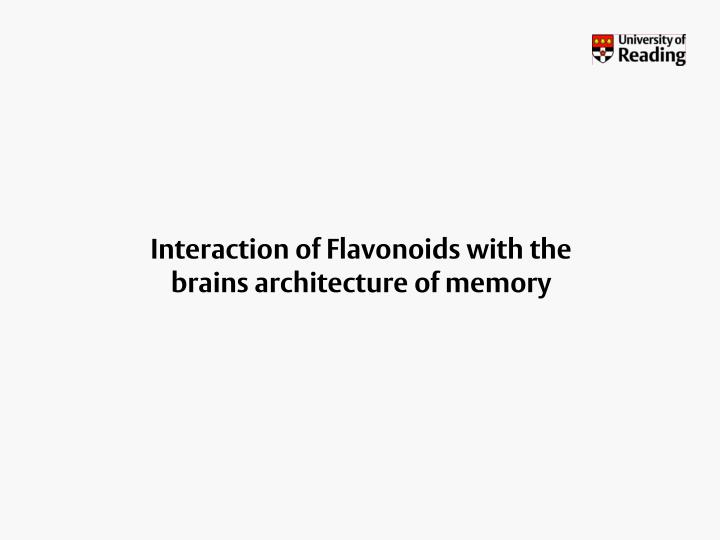 Interaction of Flavonoids with the brains architecture of memory