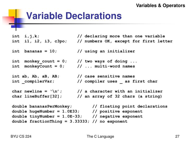 Variables & Operators