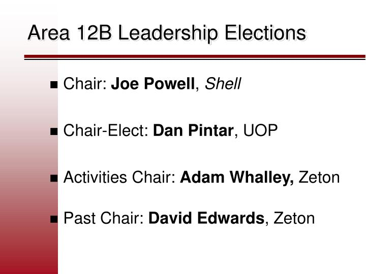 Area 12B Leadership Elections