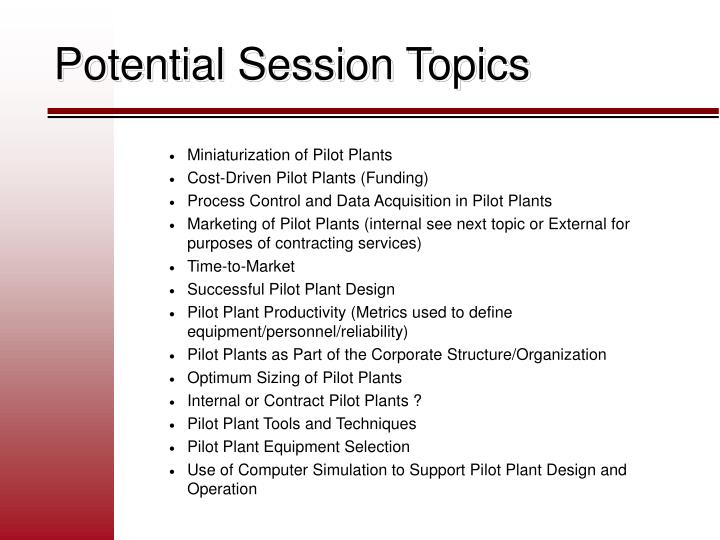 Potential Session Topics