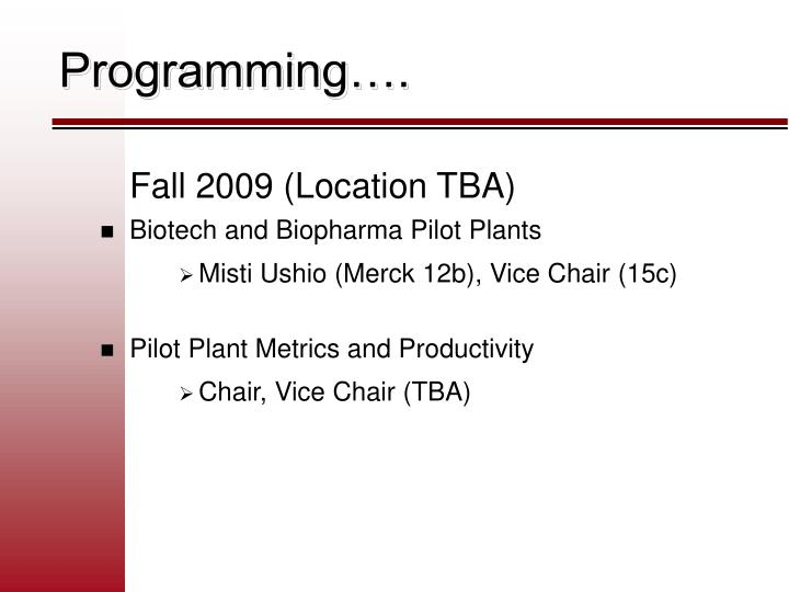 Programming….