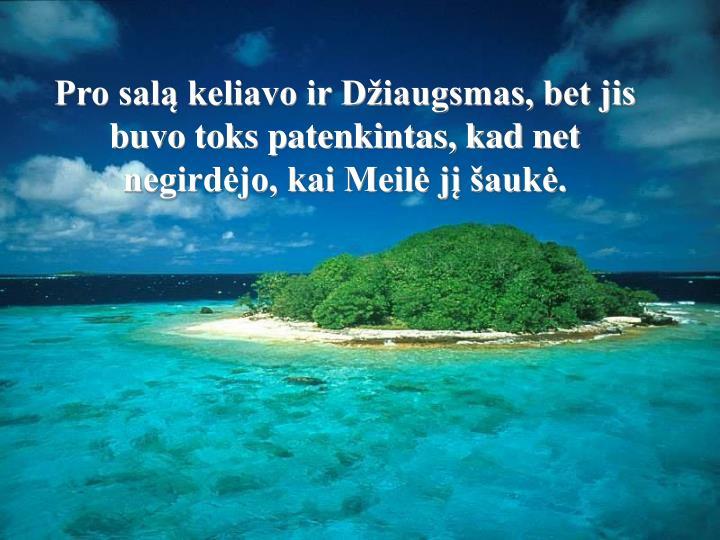 Pro salą keliavo ir Džiaugsmas, bet jis buvo toks patenkintas, kad net negirdėjo, kai Meilė jį šaukė.