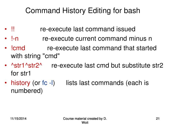 Command History Editing for bash
