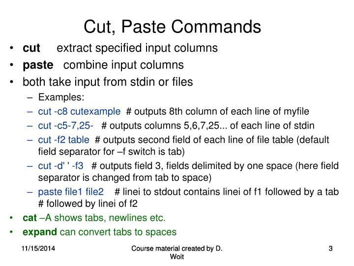 Cut paste commands