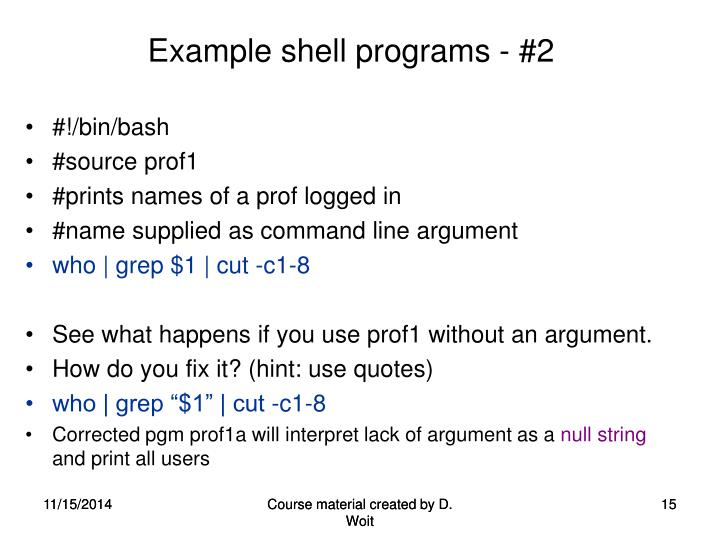 Example shell programs - #2