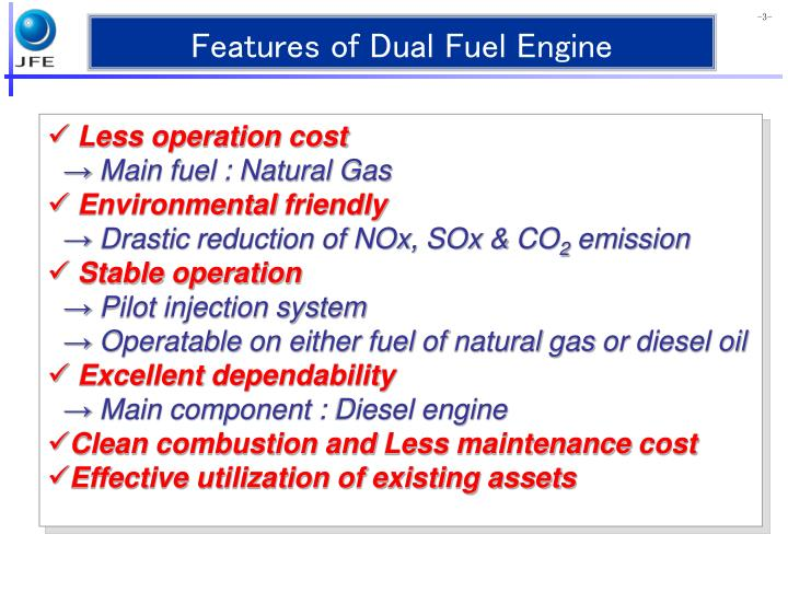Features of Dual Fuel Engine