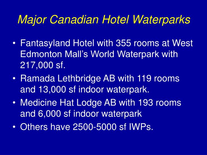 Major Canadian Hotel Waterparks