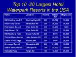 top 10 20 largest hotel waterpark resorts in the usa