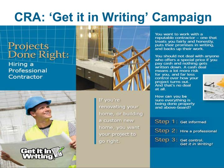 CRA: 'Get it in Writing' Campaign