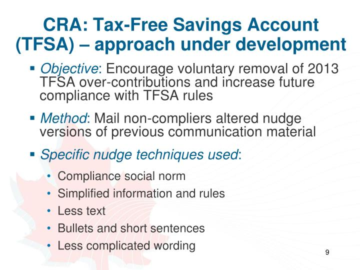 CRA: Tax-Free Savings Account (TFSA) – approach under development