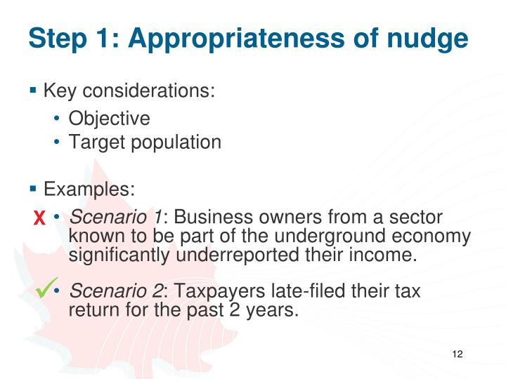 Step 1: Appropriateness of nudge