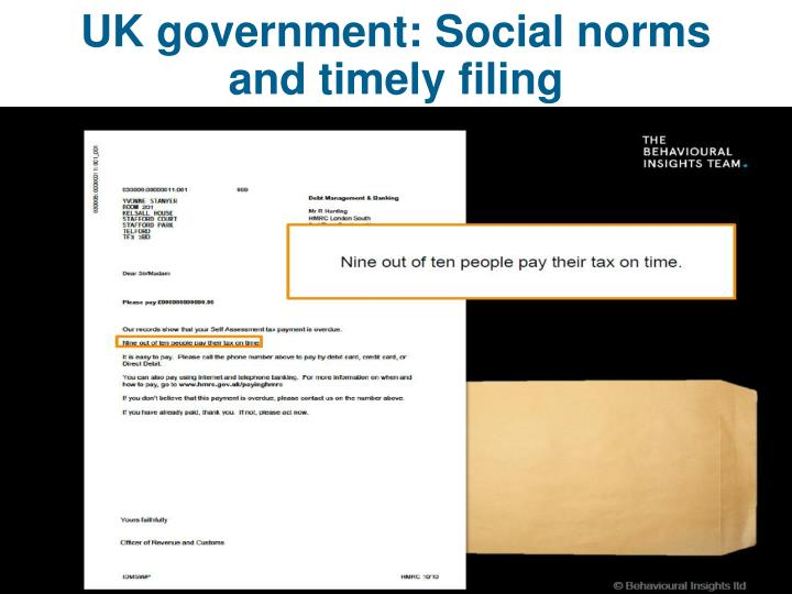 UK government: Social norms and timely