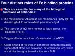 four distinct roles of fc binding proteins