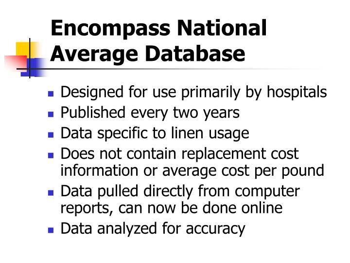Encompass National Average Database