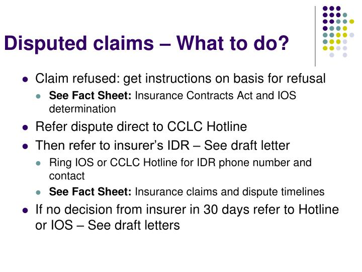 Disputed claims – What to do?