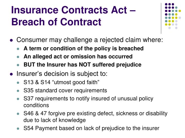 Insurance Contracts Act – Breach of Contract
