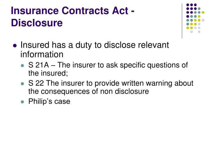 Insurance Contracts Act - Disclosure