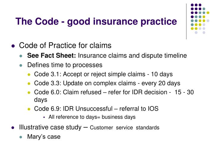 The Code - good insurance practice