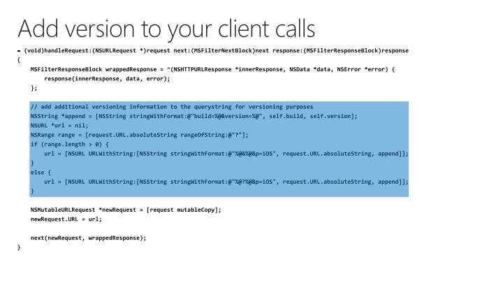 Add version to your client calls