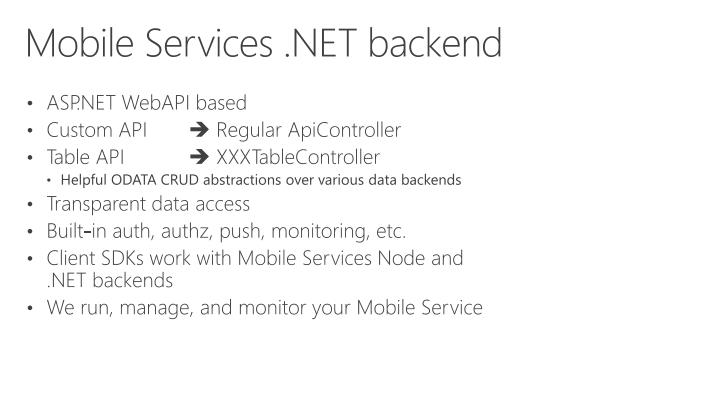 Mobile Services .NET backend