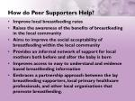 how do peer supporters help