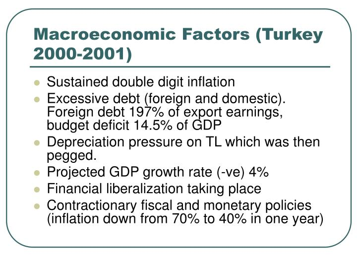 Macroeconomic Factors (Turkey 2000-2001)