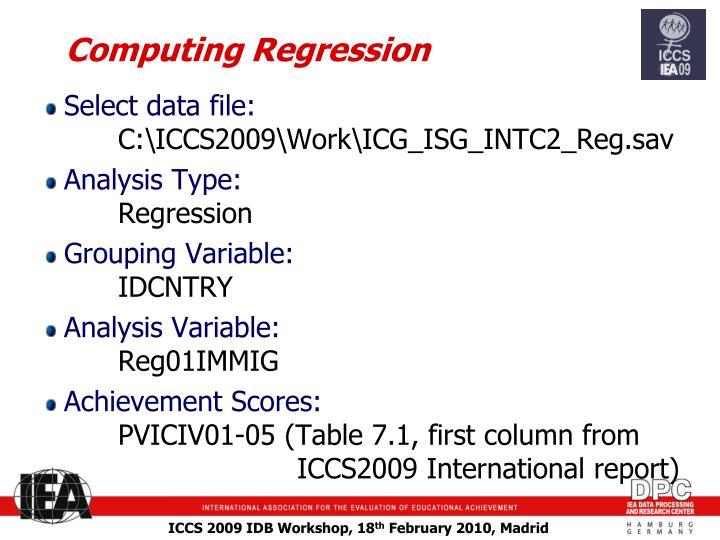 Computing Regression
