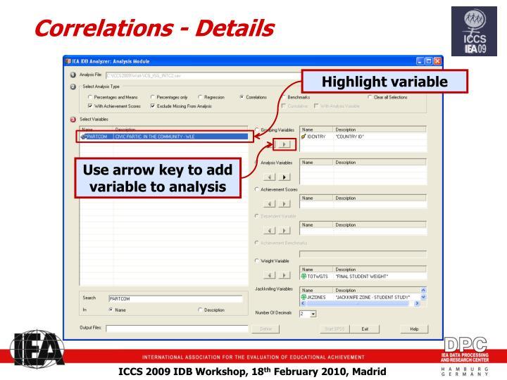 Correlations - Details