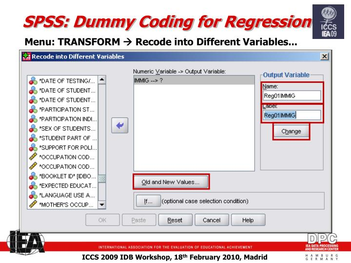SPSS: Dummy Coding for Regression