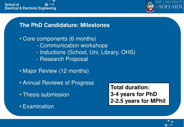 The PhD Candidature: Milestones