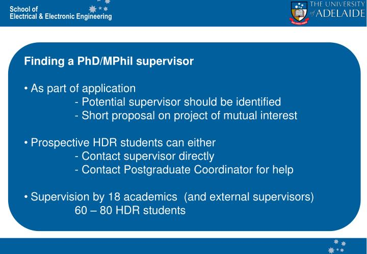 Finding a PhD/MPhil supervisor