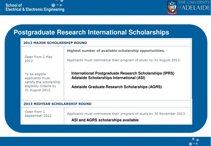 Postgraduate Research International Scholarships