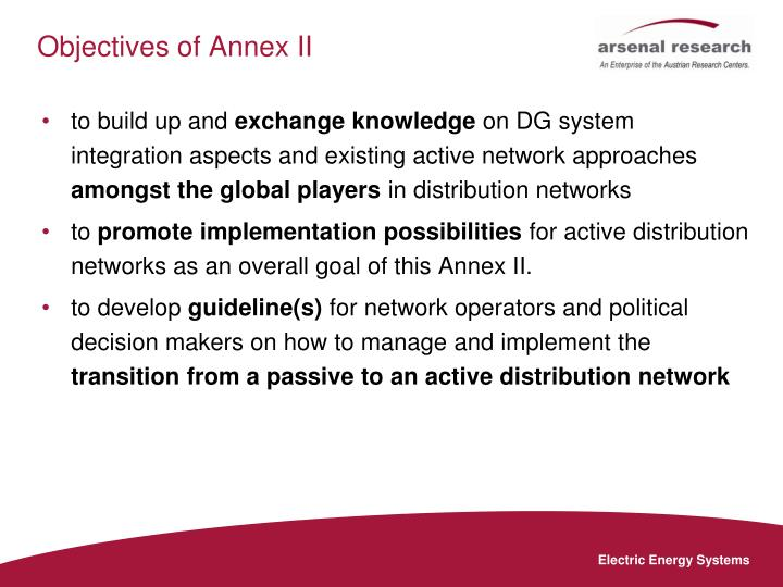Objectives of Annex II
