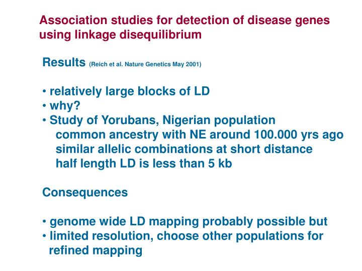 Association studies for detection of disease genes