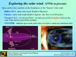 exploring the solar wind 1970s to present