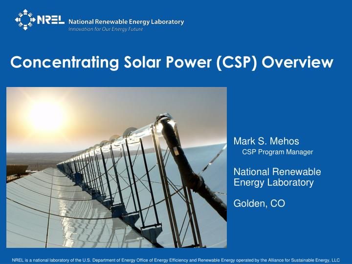 concentrating solar power csp overview