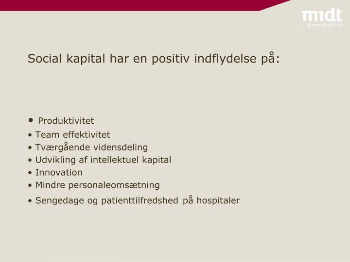 Social kapital har en positiv indflydelse på: